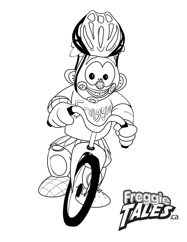Freggie Colouring Page Bike Helmet