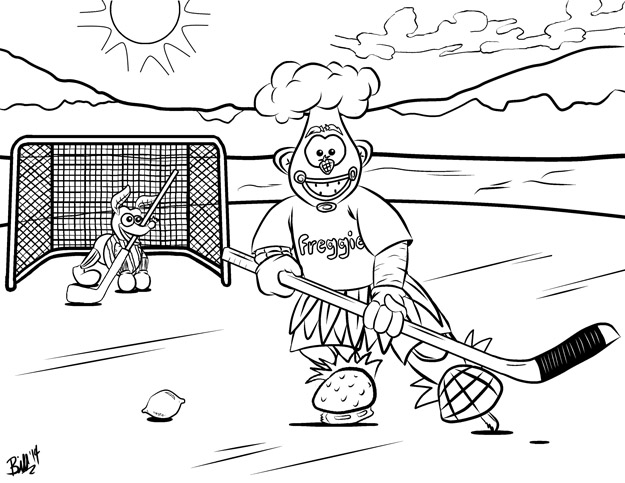 Freggie Colouring Page Hockey