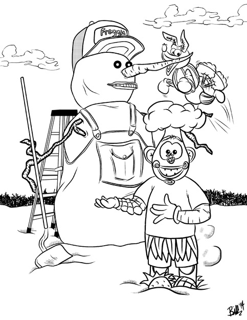Freggie Colouring Page Ladder