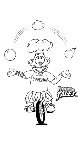 Freggie Colouring Page Unicycle Juggle